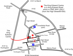 A map showing the location of the King Edward Centre, which is where we meet.
